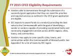 fy 2015 cfce eligibility requirements