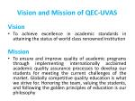 vision and mission of qec uvas