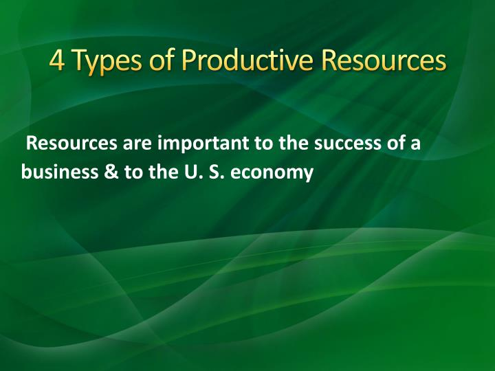 4 Types of Productive Resources