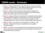 cmmi levels summary