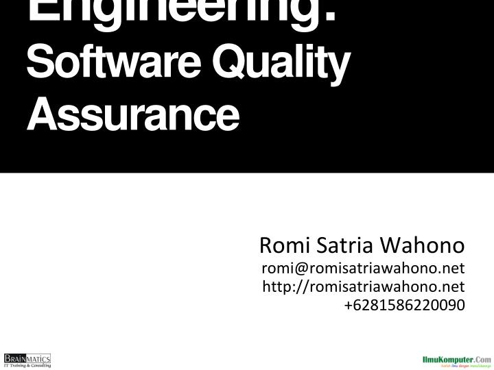 software engineering software quality assurance n.