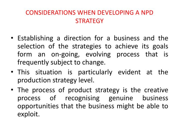 CONSIDERATIONS WHEN DEVELOPING A NPD STRATEGY
