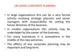 on going corporate planning