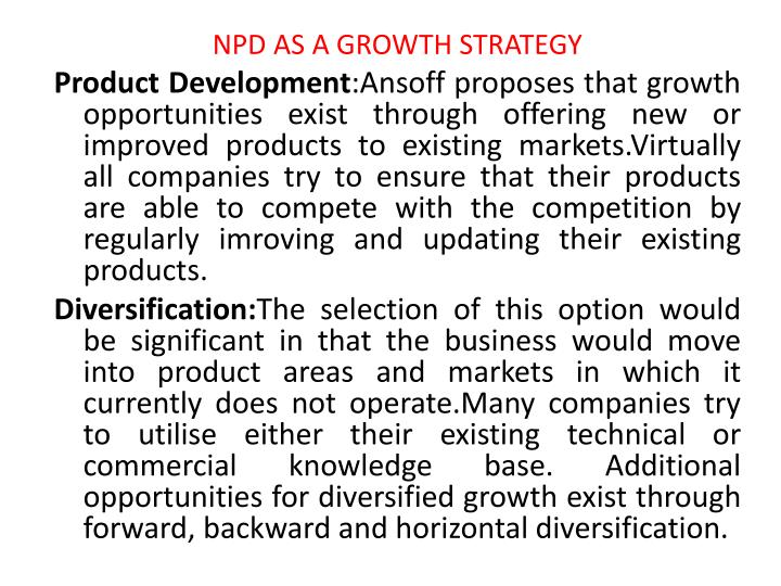 NPD AS A GROWTH STRATEGY