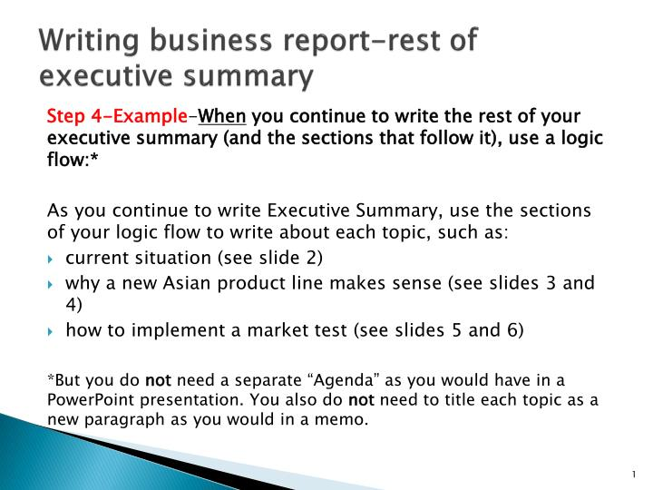 PPT - Writing business report-rest of executive summary