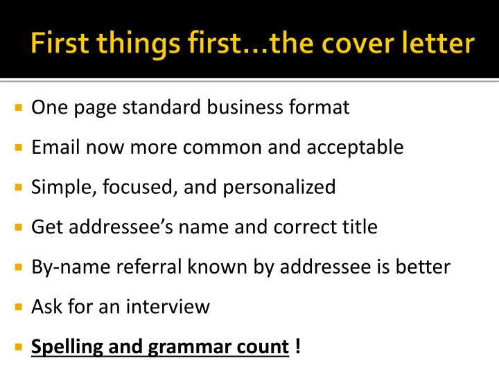 First things first…the cover letter