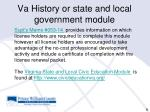 va history or state and local government mo dule