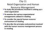 chp 11 retail organization and human resource management