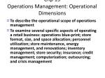 chp 13 operations management operational dimensions