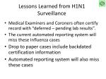 lessons learned from h1n1 surveillance