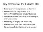 key elements of the business plan