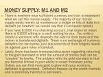 money supply m1 and m2