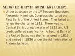 short history of monetary policy