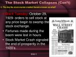 the stock market collapses con t