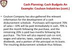 cash planning cash budgets an example coulson industries cont1