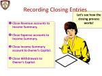 recording closing entries