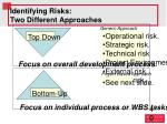 identifying risks two different approaches