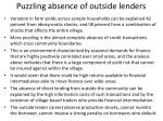 puzzling absence of outside lenders