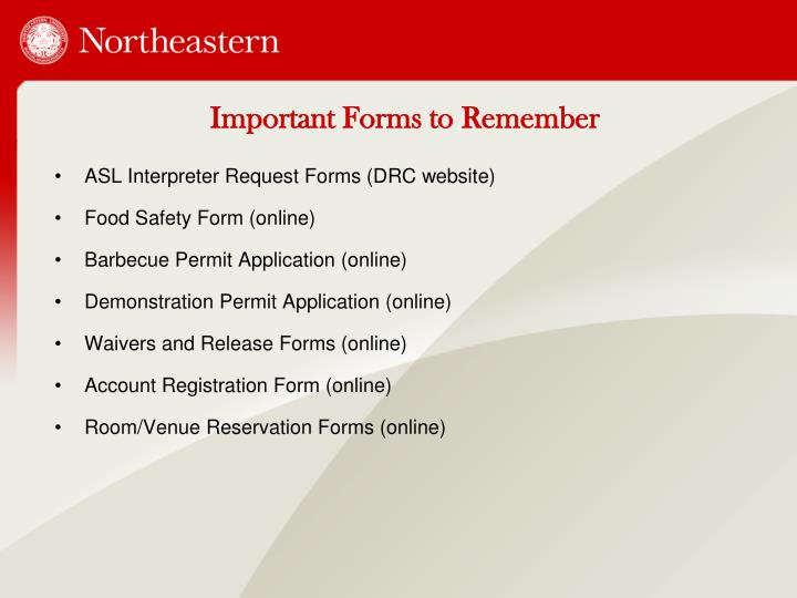 Important Forms to Remember