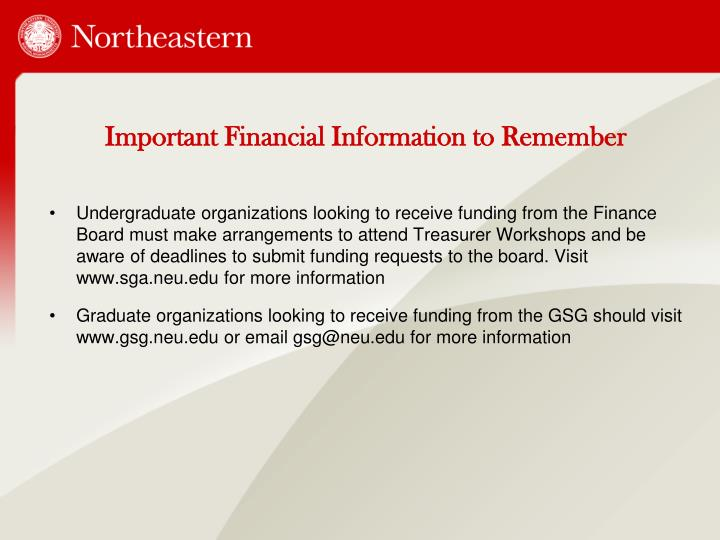 Important Financial Information to Remember