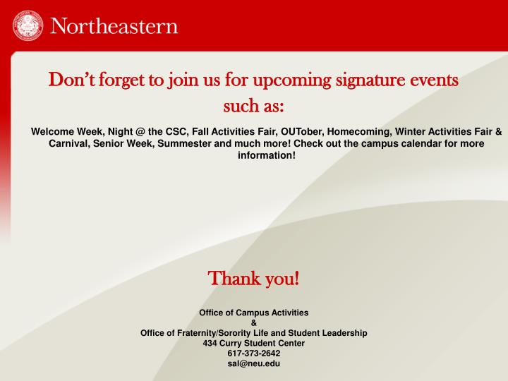 Don't forget to join us for upcoming signature events such as: