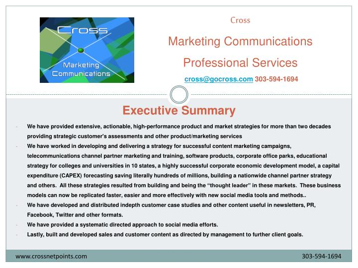 cross marketing communications professional services cross@gocross com 303 594 1694 n.