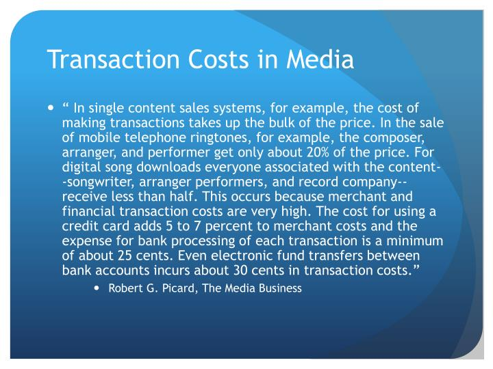 Transaction Costs in Media