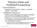 fiduciary duties and prohibited transactions