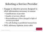 selecting a service provider