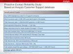 proactive contact reliability study based on avaya s customer support database