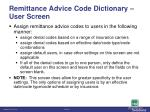 remittance advice code dictionary user screen1