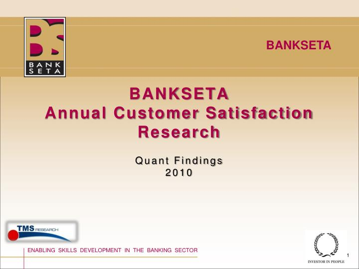 bankseta annual customer satisfaction research n.