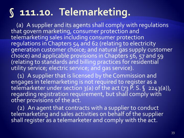 §111.10.Telemarketing.