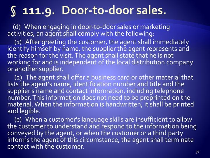 §111.9.Door-to-door sales.
