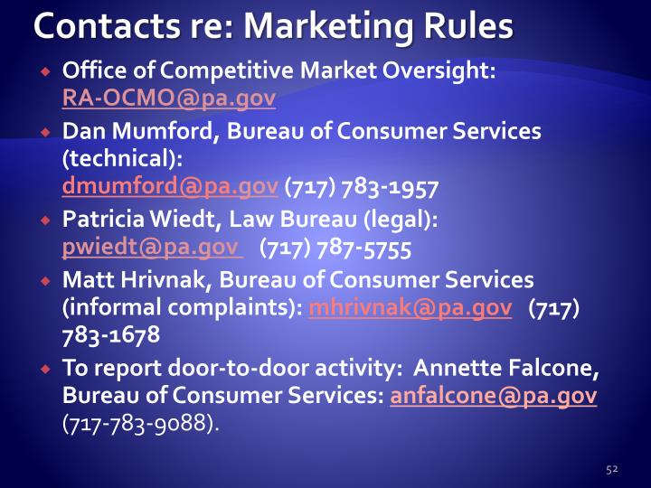 Contacts re: Marketing Rules