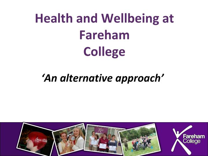 health and wellbeing at fareham college n.