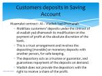 customers deposits in saving account