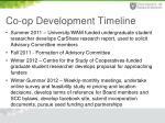 co op development timeline