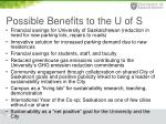 possible benefits to the u of s