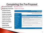 completing the pre proposal3