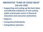innovative fund of good ideas 10 mln us