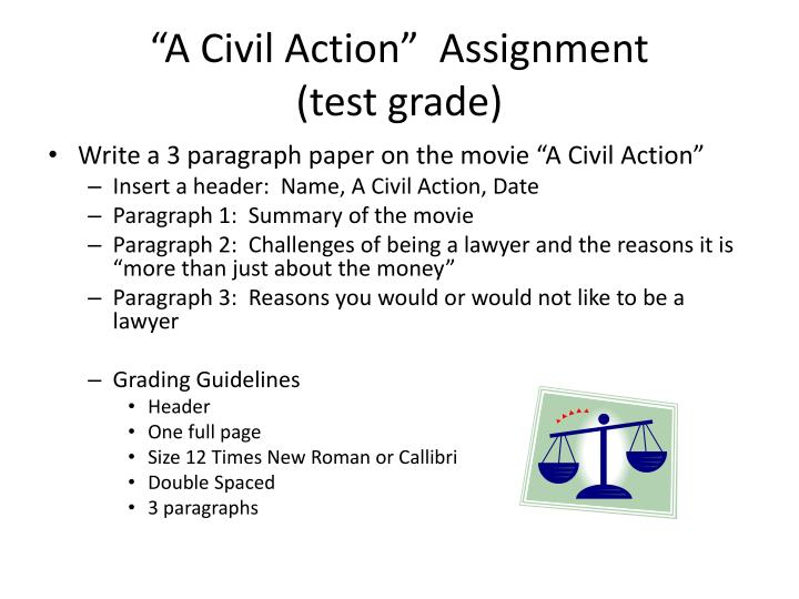 a civil action assignment test grade n.