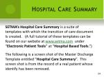 hospital care summary