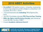 2010 abet activities