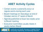 abet activity cycles