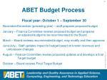 abet budget process
