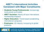 abet s international activities consistent with major constituents