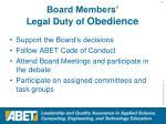 board members legal duty of obedience