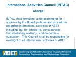 international activities council intac