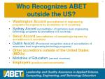 who recognizes abet outside the us